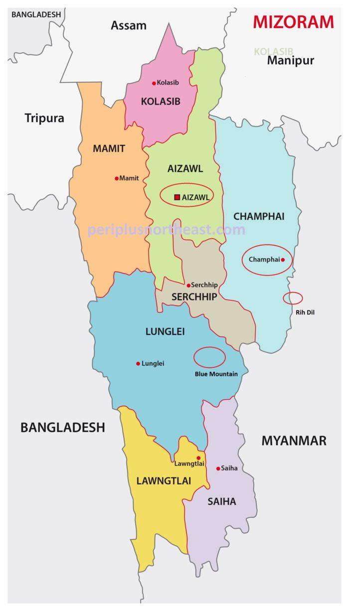 Mizoram Tourist Map